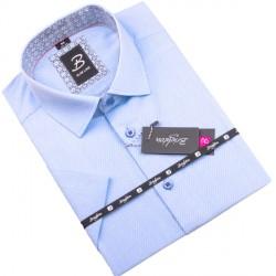 Modrobílá pánská košile krátký rukáv vypasovaný střih Brighton 109818