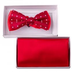 Červený motýlek s kapesníčkem Assante 90213