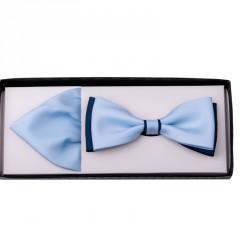 Světle modrý motýlek s kapesníčkem Assante 90220