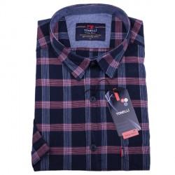 Modrá košile 100 % bavlna krátký rukáv Tonelli110810