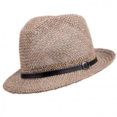 Béžový malý pánský slaměný klobouk Assante 80002
