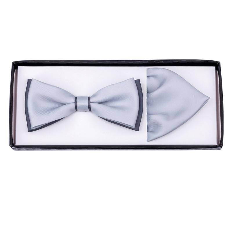 03283d352105 Šedo šedý svatební motýlek s kapesníčkem Assante 90288