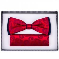 Červeno modrý motýlek s kapesníčkem Assante 90238
