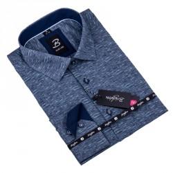 Šedá s tyrkys pánská košile slim fit Brighton 109905