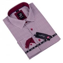 Bílá s červeným vzorem pánská košile slim fit Brighton 109909