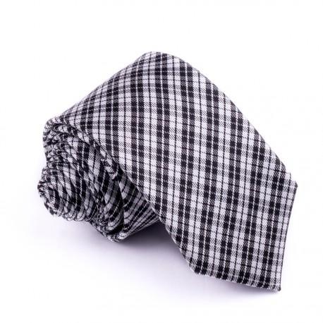 Slim šedá kravata káro Greg 99036