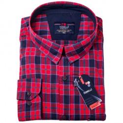 Červenomodré káro nadměr košile 100 % bavlna Tonelli 110962