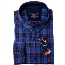 Modročervená káro 100 % bavlna nadměrná košile Tonelli 110966