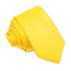 Sytě žlutá svatební kravata slim Greg 99195