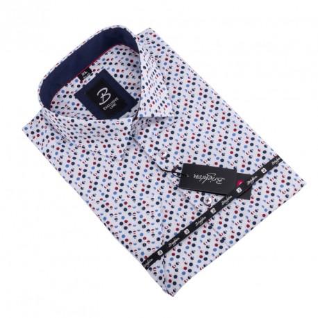 Košile Brighton bílomodročervená 109809