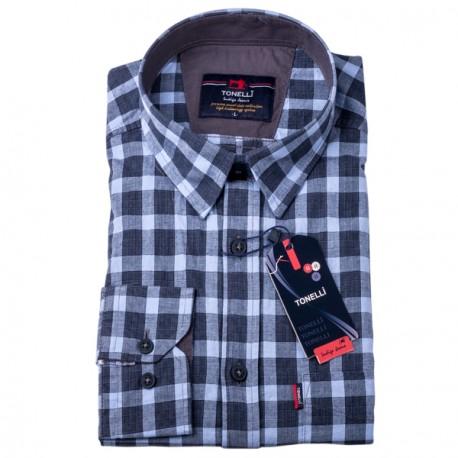 Šedobílá kostka košile Tonelli 110971